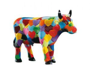 Heartstanding Cow - CowParade original - small - Mini Sammlerkuh - Kuh mit ein Fell aus bunten Herzen 46596