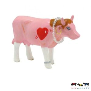 First Date - CowParade original - small - Mini Sammlerkuh - Rosa Kuh mit Herz