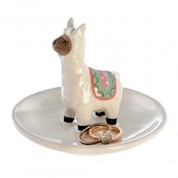 Schmuckschale Lama Ringhalter Alpaka Schmuckablage - weiße Porzellan Schale