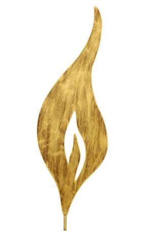Flamme aus Metall, gold - Kerzenflamme Deko zum aufstecken für Adventskerze aus Holz