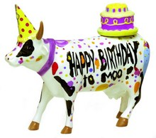 CowParade Happy Birthday to Moo mittlere Geburtstagskuh aus Keramik - medium