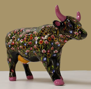 Flower Cow - mittlere Kuh / CowParade medium Ceramic Sammlerkuh