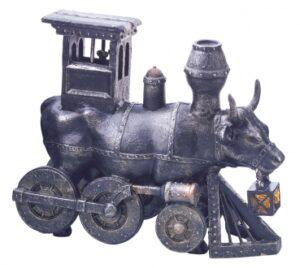 Moo-Choo-All Aboard! mittlere Kuh / CowParade medium als Eisenbahn - Lokomotive