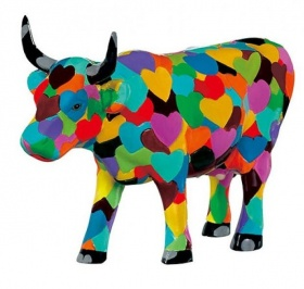 Heartstanding Cow mittlere Kuh / CowParade medium Sammlerkuh mit Bunten Herzen