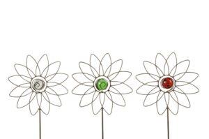 Blumen Gartenstecker mit Glaskugel - Blüte am Stab mit farblicher Glaskugel als Beetstecker