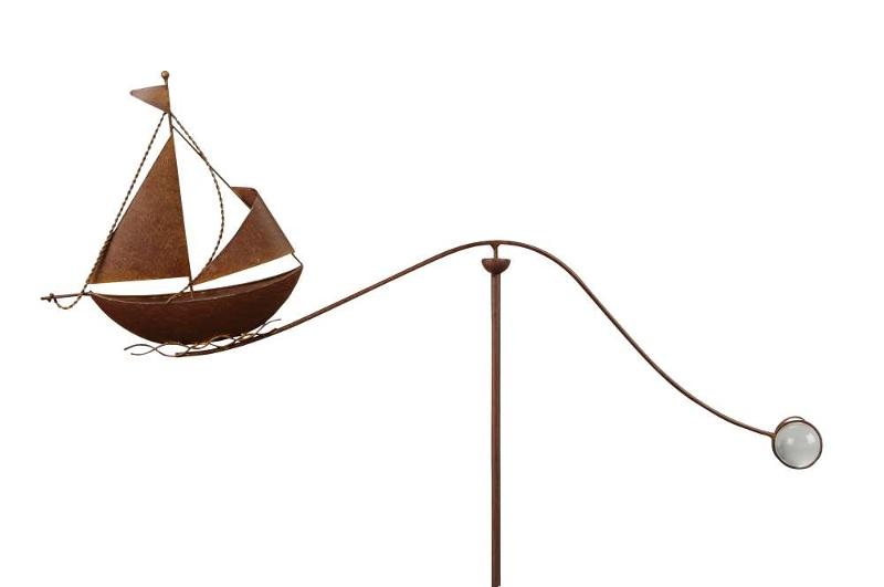 Windspiel segelboot skipper schiff gartenpendel metall balancer - Maritime gartendeko ...