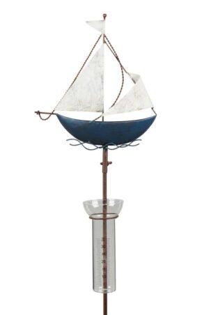 Regenmesser Schiff - Segelschiff am Stab - Gartenstecker Boot aus Eisen