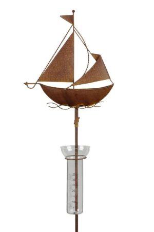 Regenmesser Schiff - Segelschiff - Boot - aus Eisen, Rostoptik