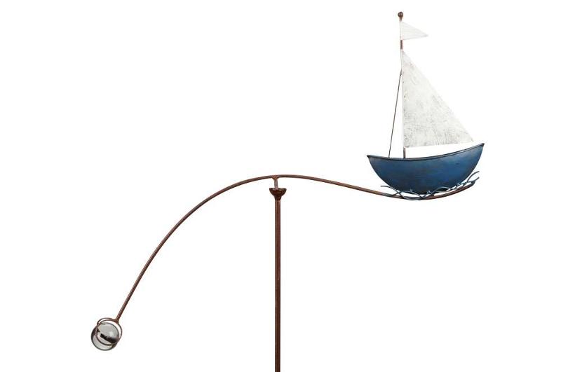 windspiel schiff segelboot skipper metall garten balancer maritim. Black Bedroom Furniture Sets. Home Design Ideas