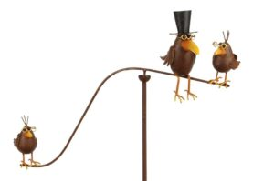 Metall Windspiel Vogel - Vogelfamilie - Garten Balancer mit 3 Vögel + Glaskugel