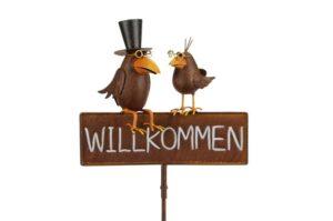 Willkommen Schild Gartenstecker Rabenpaar Vater und Sohn - Beetstecker Vogelpaar