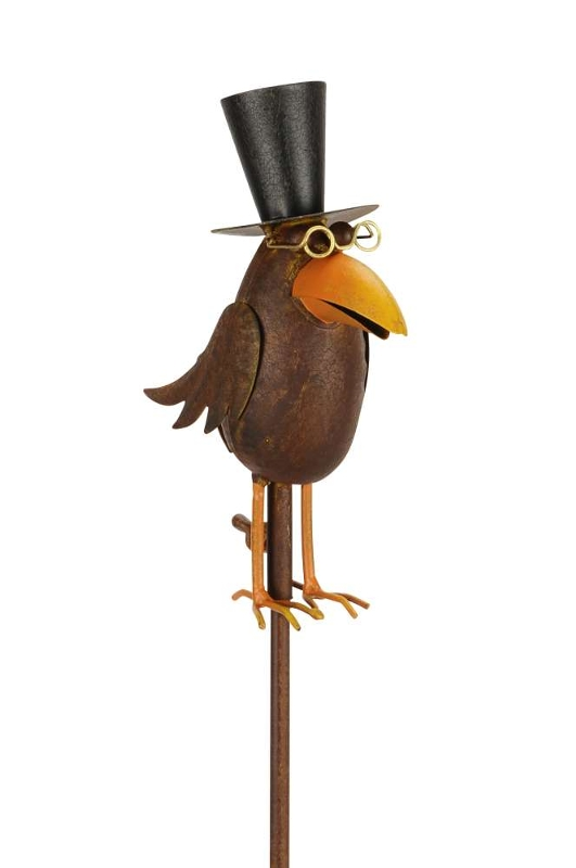 gartenstecker vogel am stab beetstecker dr rabe mit brille zylinder. Black Bedroom Furniture Sets. Home Design Ideas