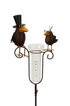 Regenmesser Raben - Niederschlagsmesser Vogelpaar - Vogelhochzeit Gartenstecker aus Metall