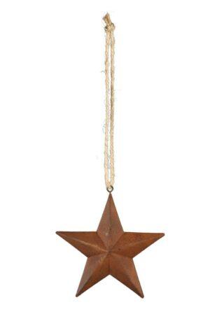 Fünfzack Metall Stern, Rostoptik, zum hängen - Dekoration für Innen und Außen