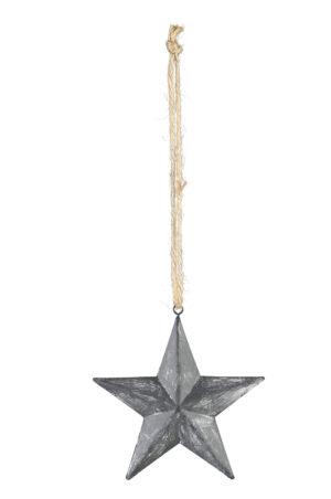 Metall Stern zum hängen, grau - Fünfzackiger Metallstern