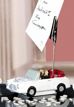 """Fotoclip Hochzeitsauto - Brautpaar im Cabrio - Kartenhalter Brautpaar """"Just Married"""""""