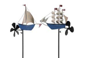 Metall Windrad Schiff - Segelschiff Windspiel Dreimaster - Windjammer und Segelboot Jolle mit Schiffschraube, Eisen, blau