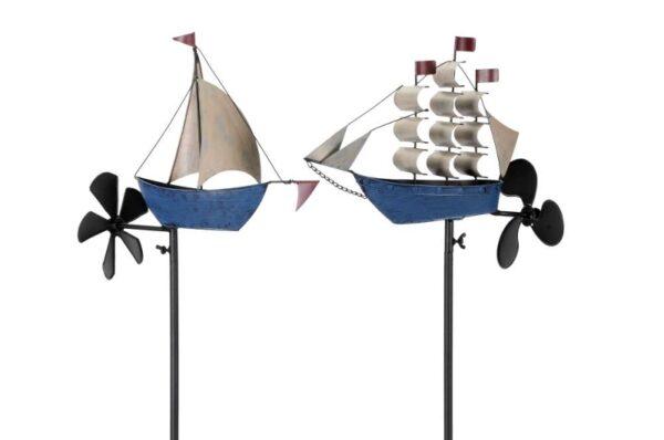 Metall Windrad Schiff - Segelschiff Windspiel Dreimaster mit Schiffschraube, Eisen, blau