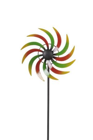 Metall Windrad mit Kugellager - Gartenwindspiel bunt - Windmühle Sichelrad