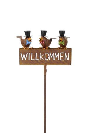 Willkommensschild Gartenstecker Spatzen - Beetstecker Willkommen mit 3 lustige Vögel