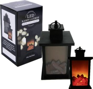 LED Laterne Kamin schwarz-rot - Tischkamin LED-Animation Kaminfeuer