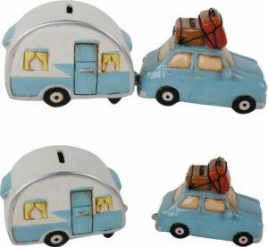Urlaub Camping Spardose Auto mit Wohnwagen Sparbuechse -2er Set
