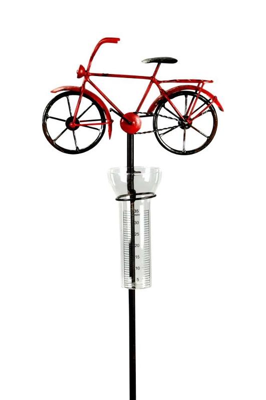 Regenmesser Fahrrad - Niederschlagsmesser Bike aus Eisen - Gartenstecker für Radfahrer