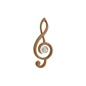 Holz Notenschlüssel - Edelholz Violinschlüssel mit Swarovski® Kristallkugel