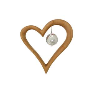 Edelholz Herz mit Swarovski® Kristallkugel- Holzherz mit Kristallperle
