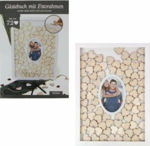 Holz Gästebuch im Rahmen+Foto, mit 72 Herzen zum Beschriften