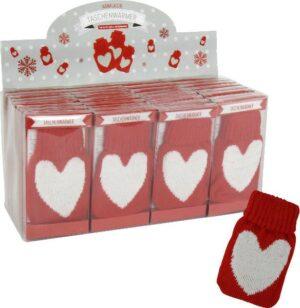 Herz Taschenwärmer mit Strick - Handwärmer Taschenheizkissen Love rot/weiß mit Strickhülle