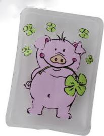 Taschenwärmer Glücksschwein - Handwärmer Taschenheizkissen - Schwein mit Glücksblatt Klee