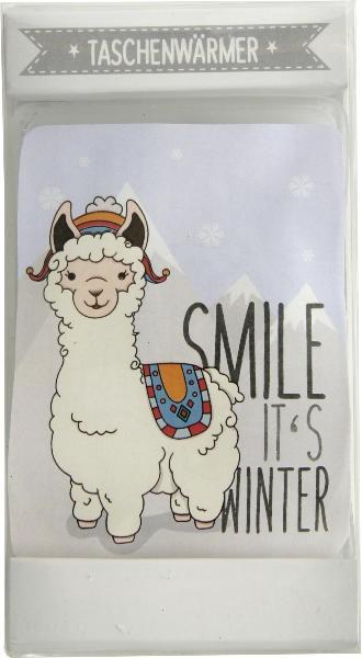 """Taschenwärmer Lama - Handwärmer Heizkissen """"Smile it´s Winter"""""""