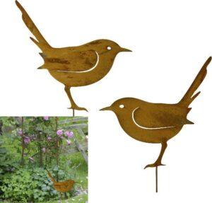 Gartendekoration Metall Vogel Stecker Rostdesign