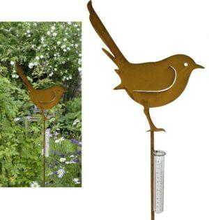 Regenmesser Vogel - Gartenstecker Rostdesign 514206 Beetstecker Niederschlagsmesser Gartendeko
