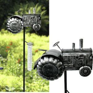 Regenmesser Trecker silber - Niederschlagsmesser Traktor - Gartenstecker Landwirtschaft