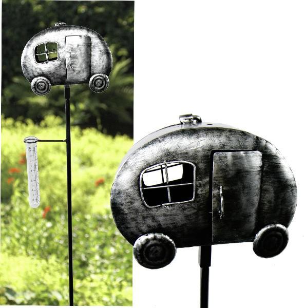 Regenmesser Camper Wohnwagen mit Teelichthalter, Metall Gartenstecker