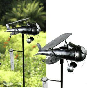 Regenmesser Flugzeug Doppeldecker - Metall Niederschlagsmesser Gartenstecker