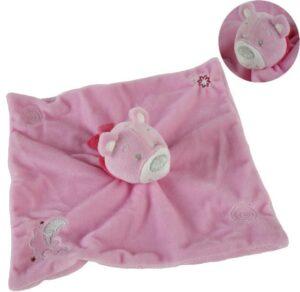 Schnuffeltuch - Baby Kuscheltuch Bär Plüsch auch als Handpuppe in rosa