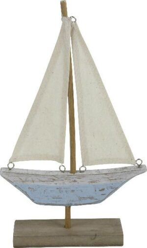 Holz Boot Skulptur Segelboot auf Sockel - Segelschiff - Schiff - maritime blau/weiß Deko
