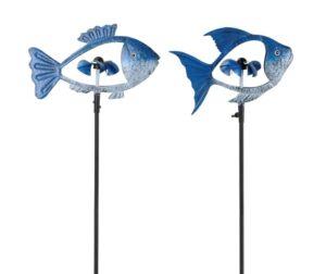 Metall Windrad Fisch, blau-weiß Fischwindspiel mit 5 Windschaufeln in Schuppenform