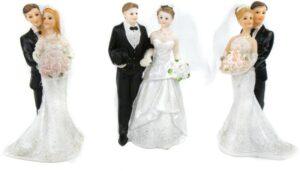 Hochzeitstortenfigur Brautpaar, stehend - Hochzeitpaar als Tortenfigur - Dekofigur Hochzeit