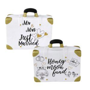 Koffer Spardose Flitterwochen - Hochzeitsspardose Mr. & Mrs Just Married