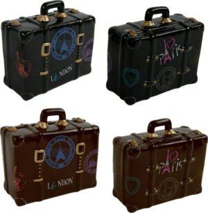 Spardose Reisekoffer I ♥ Paris - I ♥ London - Retro Koffer in braun oder schwarz