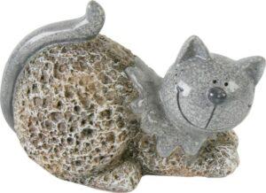 Dekofigur Katze, Stein Look, sitzend - Keramik