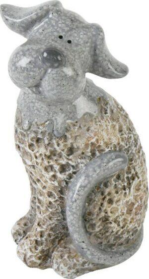 Dekofigur Hund, Stein Look, sitzend - Keramik