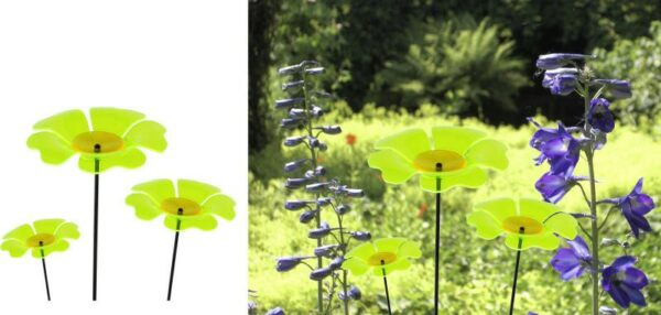 fluoreszierende Gartenstecker Mohn Sonnenfänger M/L/XL Lichtspiel Lichtfänger, Acryl