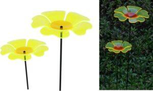 2er Set Gartenstecker Mohn Sonnenfänger Lichtspiel Lichtfänger, Acryl