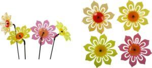 fluoreszierende Gartenstecker Sonnenblume - Leuchtblume, Blumenleuchte Sonnenfänger mit Schwingstab - Acrylglas