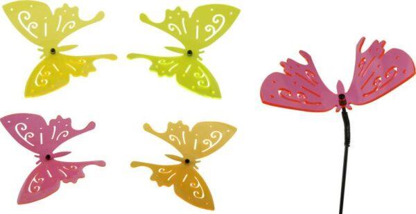 fluoreszierende Acrylglas Gartenstecker Schmetterling mit Schwingstab - Sonnenfänger Lichtspiel